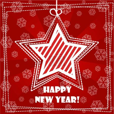 Photo for Collection greeting card, Happy New Year, Christmas decorations star on red Background - Royalty Free Image