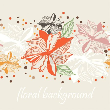 Photo for Floral Border seamless  Background, set 3 - Royalty Free Image