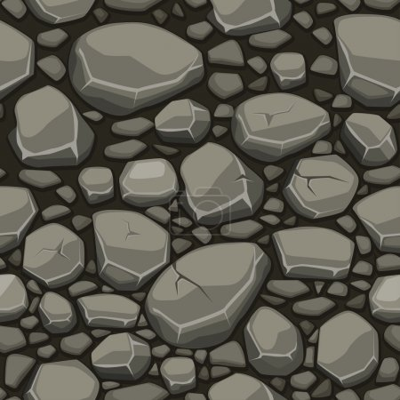 Cartoon stone texture in gray colors seamless background