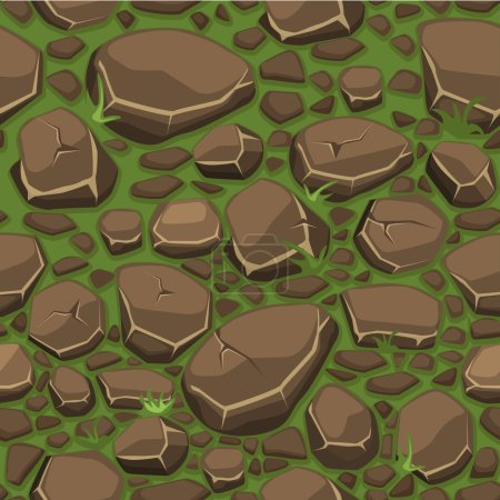 Cartoon stone on grass texture in brown colors seamless background, view from above