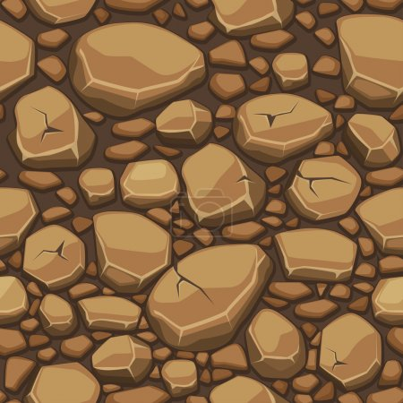Cartoon stone texture in brown colors seamless background