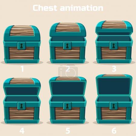 Illustration pour Bois d'animation Coffre au trésor dans des illustrations vectorielles - image libre de droit