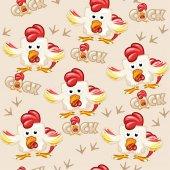 Seamless pattern square cartoon cock
