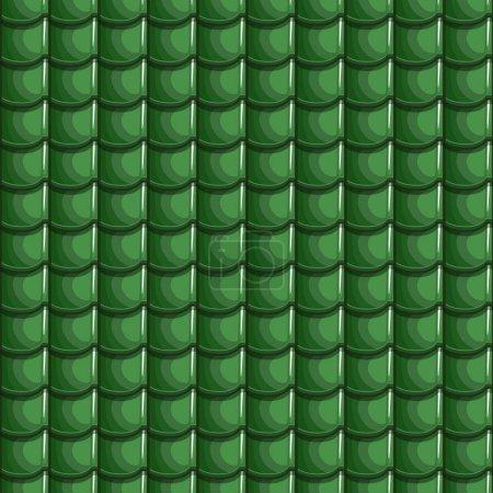 Cartoon Green Roof Tiles Seamless Background