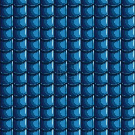 Cartoon blue Roof Tiles Seamless Background