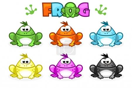 Cartoon Frogs. Different Colored toads. Set vector...
