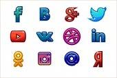Golden icons Social media Buttons set