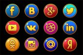 Golden and colored icons Social media Circle buttons set