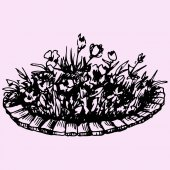 flowers in flowerbed doodle style