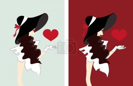 Illustration for Elegant woman with hat and curly hair sending hearts. Love day Vector set - Royalty Free Image