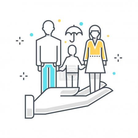 Illustration for Color line, family insuance concept illustration, icon, background and graphics. The illustration is colorful, flat, vector, pixel perfect, suitable for web and print. It is linear stokes and fills. - Royalty Free Image