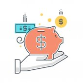 Color line, investment insurance concept illustration, icon