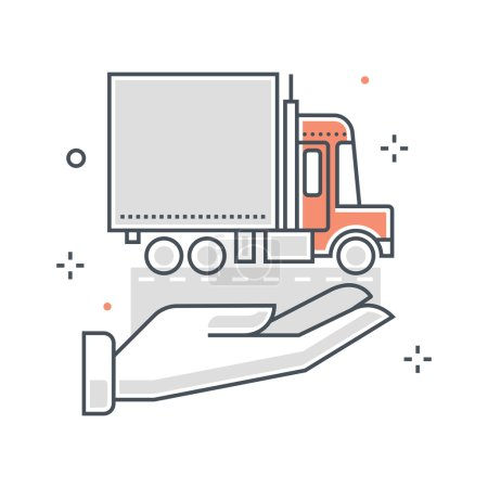 Color line, delivery insurance illustration, icon
