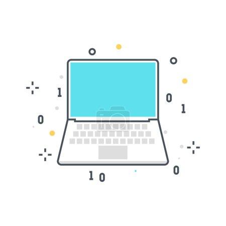 Color line, computer technology concept illustration, icon