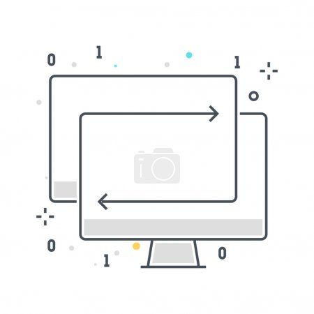Color line, synchronisation concept illustration, icon