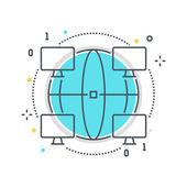 Color line web connection concept illustration icon