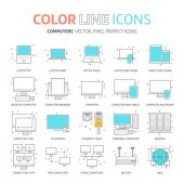 Color line computer connection illustrations icons