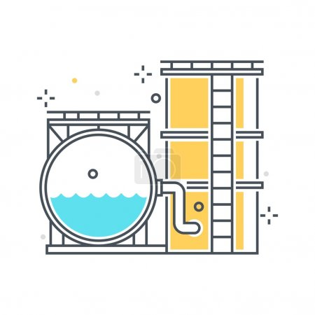Color line, storage tank concept illustration, icon