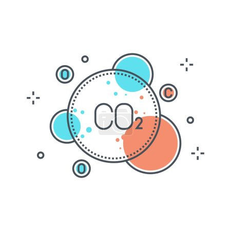 Color line, pollution concept illustration, icon
