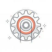 Color line energy cog concept illustration icon