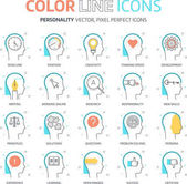 Color line personality illustrations icons