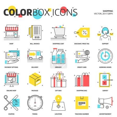 Color box icons, shopping concept illustrations, icons
