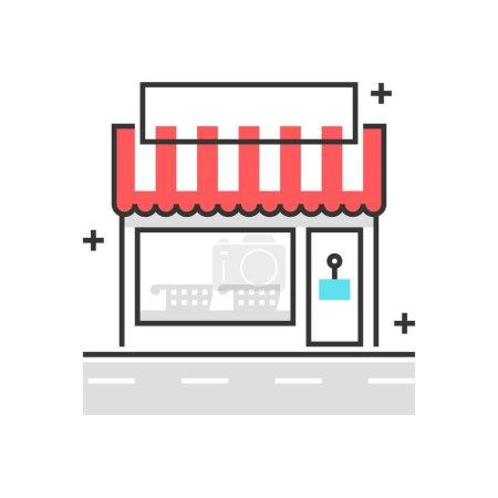 Illustration pour Icône de boîte de couleur, illustration de concept de magasin, icône, fond et graphiques. L'illustration est colorée, plate, vectorielle, pixel parfait pour le web et l'impression. Coups linéaires et remplissages . - image libre de droit