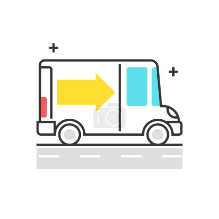 Color box icon, delivery concept illustration, icon