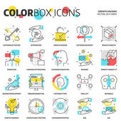 Color box icons growth hacking concept illustrations icons backgrounds and graphics The illustration is colorful flat vector pixel perfect suitable for web and print It is linear stokes and fills