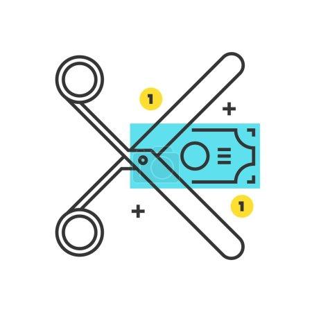 Color box icon, budget cuts concept illustration, ...