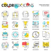 Color box icons project development concept illustrations icon