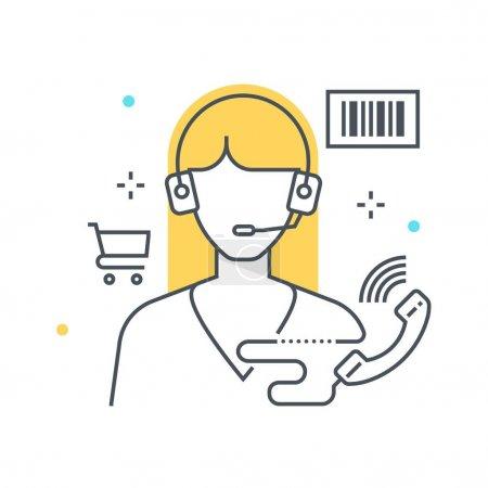 Illustration pour Ligne de couleur, illustration de concept de soutien, icône, arrière-plan et graphiques. L'illustration est colorée, plate, vectorielle, pixel parfait, adapté pour le web et l'impression. Ce sont des coups linéaires et des remplissages . - image libre de droit
