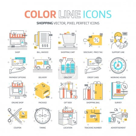 Illustration for Color line, shopping illustrations, icons, backgrounds and graphics. The illustration is colorful, flat, vector, pixel perfect, suitable for web and print. It is linear stokes and fills. - Royalty Free Image
