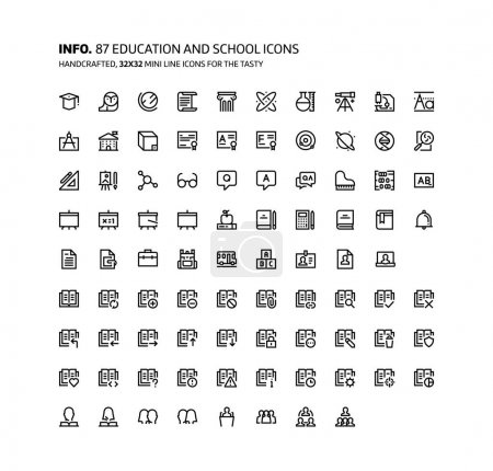 Illustration for Education mini line, illustrations, icons, backgrounds and graphics. The icons pack is black and white, flat, vector, pixel perfect, minimal, suitable for web and print. - Royalty Free Image