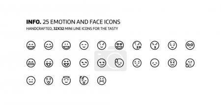 Illustration pour Emotions mini ligne, illustrations, icônes, arrière-plans et graphiques. Le pack d'icônes est noir et blanc, plat, vectoriel, pixel parfait, minimal, adapté pour le web et l'impression . - image libre de droit