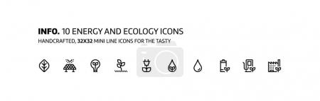 Illustration for Energy ecology mini line, illustrations, icons, backgrounds and graphics. The icons pack is black and white, flat, vector, pixel perfect, minimal, suitable for web and print. - Royalty Free Image