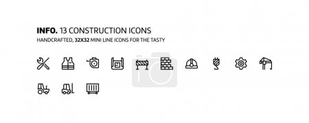 Construction mini line, illustrations, icons