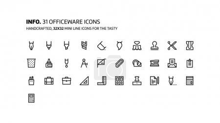 Office tools mini line, illustrations, icons