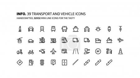 Transport mini line, illustrations, icons