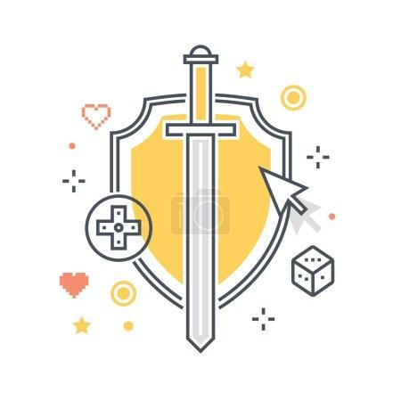 Color line, shield concept illustration, icon