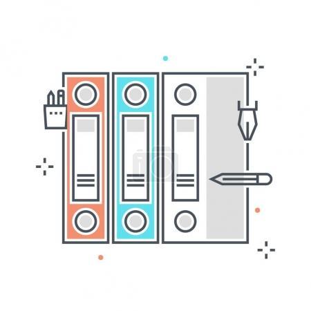 Color line, Documents concept illustration, icon