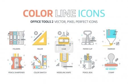 Color line, office tools illustrations, icons