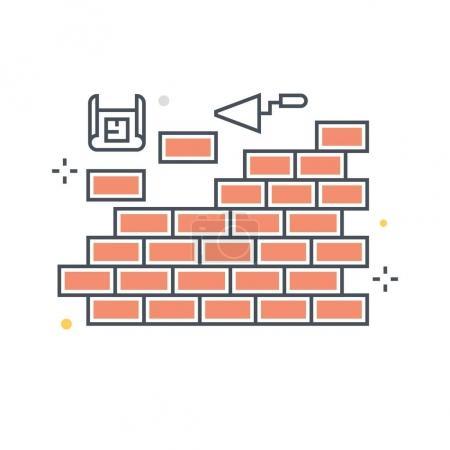 Color line, wall concept illustration, icon