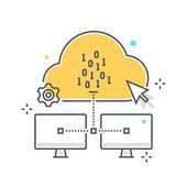 Color line cloud hosting illustration icon background and graphics The illustration is colorful flat vector pixel perfect suitable for web and print It is linear stokes and fills