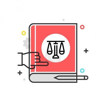 Illustration pour Icône de boîte de couleur, illustration de livre de loi, icône, fond et graphiques. L'illustration est colorée, plate, vectorielle, pixel parfait, adapté pour le web et l'impression. Ce sont des coups linéaires et des remplissages . - image libre de droit