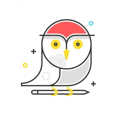 Illustration for Color box owl icon, background and graphics. The illustration is colorful, flat, vector, pixel perfect, suitable for web and print. It is linear stokes and fills. - Royalty Free Image