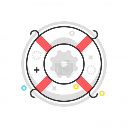 Color box life buoy icon, background and graphics