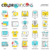 Color box icons advertisement backgrounds and graphics