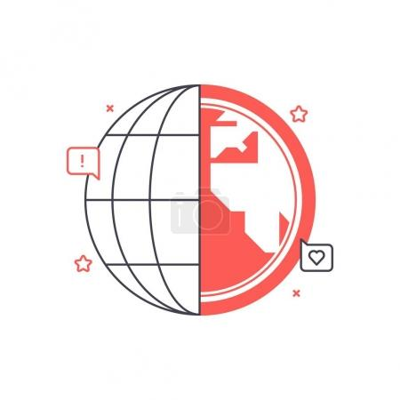 Multitone icon, global network background and graphic