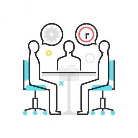 Illustration pour Icône de boîte de couleur, illustration de réunion, icône, fond et graphiques. L'illustration est colorée, plate, vectorielle, pixel parfait pour le web et l'impression. Coups linéaires et remplissages . - image libre de droit